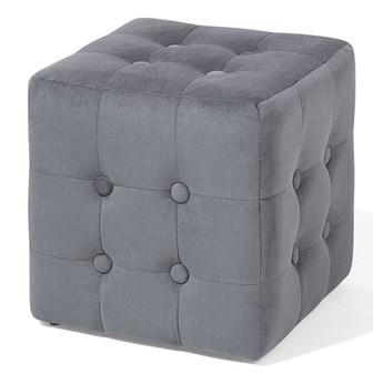 Beliani Puf kwadratowy szary tapicerowany 30 x 30 x 32 cm siedzisko pikowana kostka