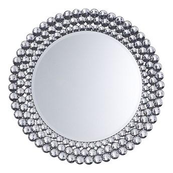 Beliani Lustro wiszące ścienne srebrne okrągłe 70 cm dekoracyjne