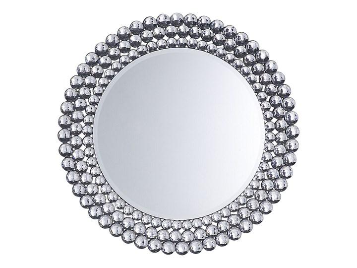 Beliani Lustro wiszące ścienne srebrne okrągłe 70 cm dekoracyjne Lustro bez ramy Kolor Srebrny