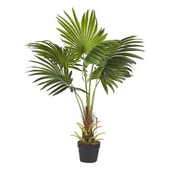 Beliani Sztuczna roślina doniczkowa palma zielony czarny materiał syntetyczny 100 cm dekoracja do wnętrz