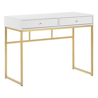 Beliani Konsola biała matowa 2 szuflady 100 x 50 cm złota metalowa rama elegancka toaletka biurko glamour