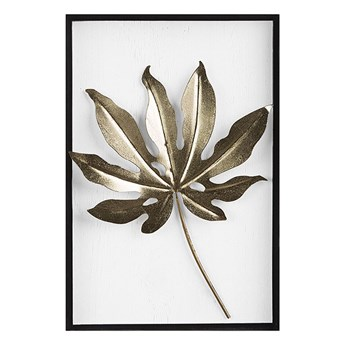 Beliani Dekoracja ścienna biało-złota liść 50 x 30 cm metalowa ozdoba styl nowoczesny