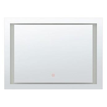 Beliani Lustro ścienne wiszące srebrne LED 60 x 80 cm