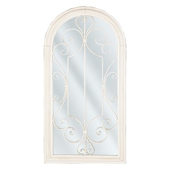 Beliani Lustro ścienne wiszące białe ozdobne w kształcie okna vintage