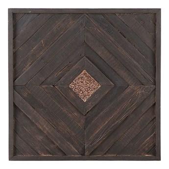 Beliani Dekoracja ścienna z ciemnego drewna tekowego z recyklingu 70 x 70 cm kwadratowa styl rustykalny