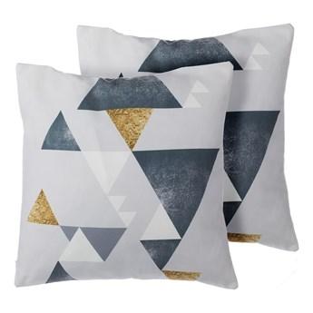 Beliani Zestaw 2 poduszek dekoracyjnych wielokolorowe wzór geometryczny trójkąty 45 x 45 cm z wypełnieniem ozdobna akcesoria salon sypialnia
