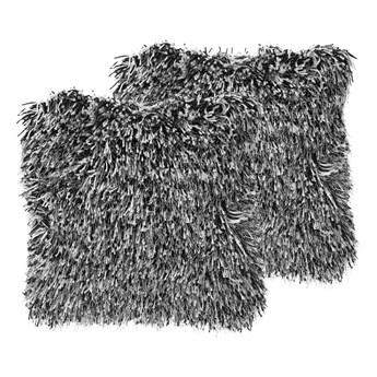 Beliani Zestaw 2 poduszek dekoracyjnych czarnobiałe poliestrowe materiał szare włochate poszewki z wypełnieniem 45 cm kwadratowe