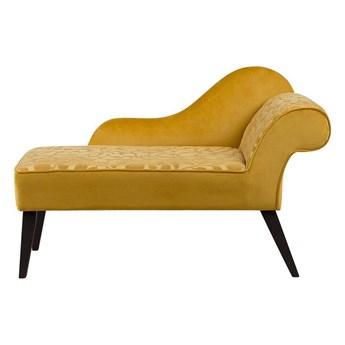 Beliani Szezlong żółty tapicerowany welurowy prawostronny z motywem w liście ciemne nóżki nowoczesny styl