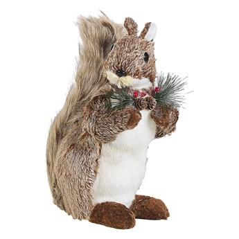 Beliani Figurka dekoracyjna brązowa sztuczne futro wiewiórka świąteczna ozdoba dekoracja do mieszkania 40 cm