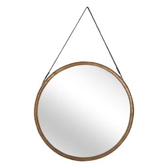 Beliani Lustro ścienne złote metalowa rama okrągłe 60 cm na pasku ze skóry ekologicznej postarzane dekoracyjne styl nowoczesny