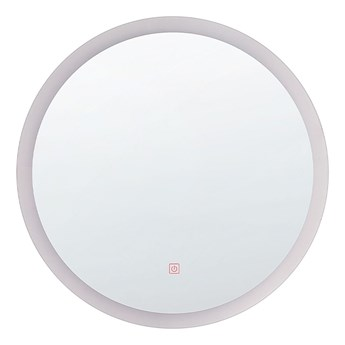 Beliani Lustro ścienne wiszące srebrne LED okrągłe 58 cm