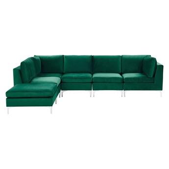 Beliani Narożnik modułowy prawy zielony welurowy sofa 5-osobowa z otomaną metalowe nóżki w stylu glamour