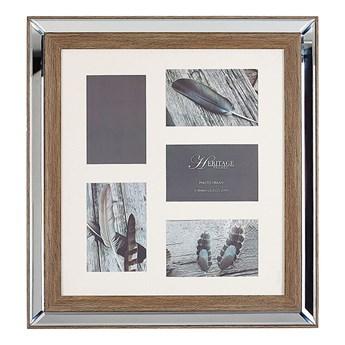 Beliani Multiramka ciemne drewno drewniana lustrzana 49 x 44 cm na zdjęcia 5 fotografii 10 x 15 cm kolaż wisząca