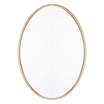 Beliani Lustro ścienne wiszące złote 83 x 57 cm owalne dekoracyjne do salonu sypialni łazienki minimalistyczne