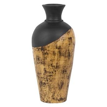 Beliani Dekoracyjny wazon ciemne drewno z czarnym ceramiczny 44 cm styl nowoczesny art-deco