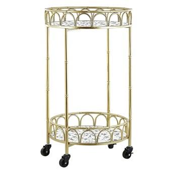 Beliani Wózek kuchenny złoty metalowa rama blat z efektem lastryko barek na kółkach w stylu glamour