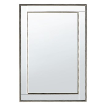 Beliani Lustro ścienne wiszące srebrne 60 x 90 cm