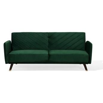 Beliani Sofa rozkładana zielona welurowa 3-osobowa z funkcją spania glamour