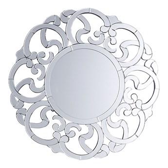 Beliani Lustro ścienne wiszące srebrne okrągłe 70 cm ozdobne
