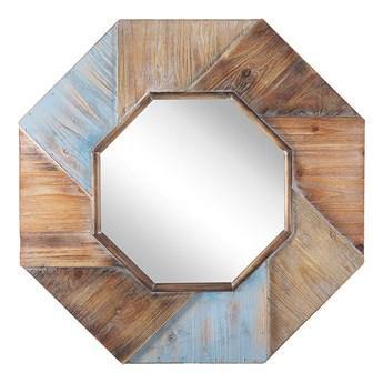 Beliani Lustro ścienne ciemne drewno ośmiokątne 77 x 77 cm ręcznie wykonane oprawione dekoracyjne rustykalne