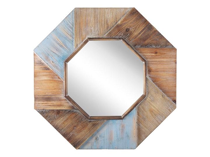 Beliani Lustro ścienne ciemne drewno ośmiokątne 77 x 77 cm ręcznie wykonane oprawione dekoracyjne rustykalne Nieregularne Lustro z ramą Kolor Beżowy
