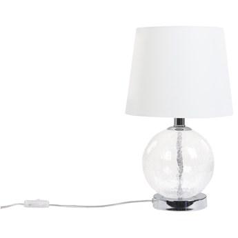 Beliani Lampa stołowa biały klosz srebrna baza 72 cm nocna glamour