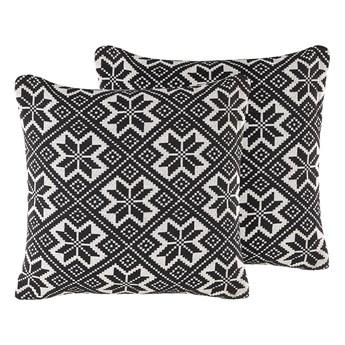 Beliani Zestaw 2 poduszek dekoracyjnych czarno-biały bawełniany 45 x 45 cm zdejmowana poszewka wzór retro