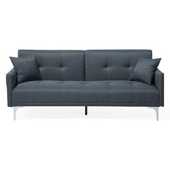 Beliani Sofa rozkładana niebieska tapicerowana pikowana kanapa do salonu pokoju granatowa z funkcją spania metalowe srebrne nogi