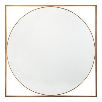 Beliani Lustro wiszące ścienne złote okrągłe w kwadratowej ramie 81 x 81 cm łazienka salon styl glam