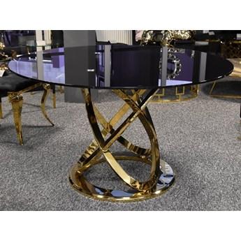 Stół okrągły na złotych nogach / czarne szkło Grey