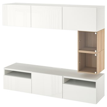 IKEA BESTÅ / EKET Szafka pod TV, Biały/Selsviken połysk/biel, 180x42x166 cm