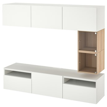 IKEA BESTÅ / EKET Szafka pod TV, Biały/Lappviken biały, 180x42x166 cm