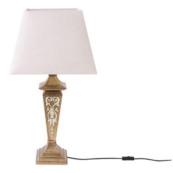 Beliani Lampa stołowa beżowa tworzywo sztuczne 76 cm srebrne zdobienia klasyczna