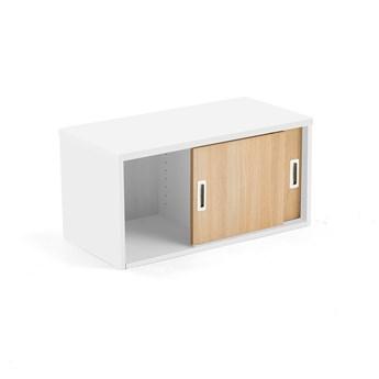 Szafka MODULUS z drzwiami przesuwnymi, 400x800 mm, biały, dąb