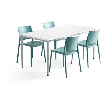 Zestaw mebli MODULUS + RIO, stół + 4 krzesła turkus