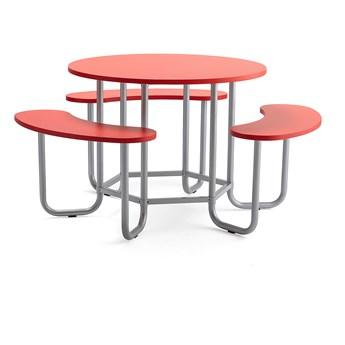 Ława wielosiedziskowa OCTO, model wysoki, siedziska czerwony, rama srebrny