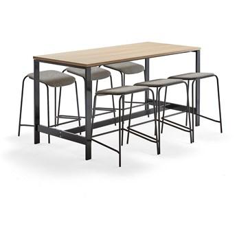 Zestaw mebli VARIOUS + ATTEND, stół + 6 stołków, beżowy