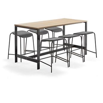 Zestaw mebli VARIOUS + ATTEND, stół + 6 stołków, antracyt