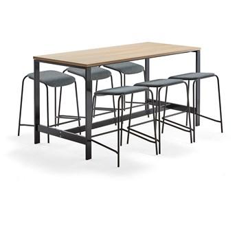 Zestaw mebli VARIOUS + ATTEND, stół + 6 stołków, niebieskoszary