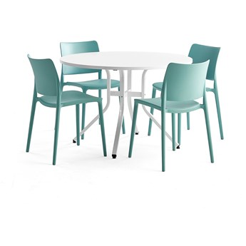 Zestaw mebli VARIOUS + RIO, stół + 4 krzesła turkus