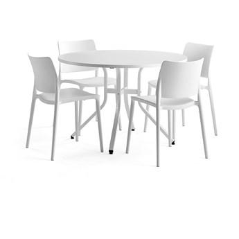Zestaw mebli VARIOUS + RIO, stół + 4 krzesła biały