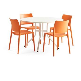Zestaw mebli VARIOUS + RIO, stół + 4 krzesła pomarańczowy