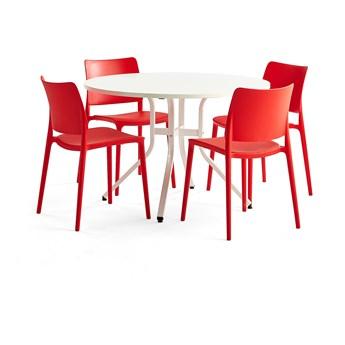 Zestaw mebli VARIOUS + RIO, stół + 4 krzesła czerwony
