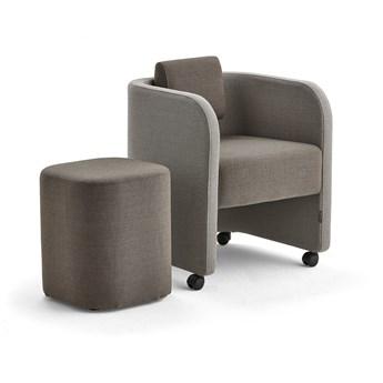 Zestaw mebli COMFY, fotel i stołek, na kółkach, wełna, piaskowy/brązowy