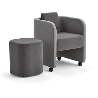 Zestaw mebli COMFY, fotel i stołek, na kółkach, wełna, jasnoszary/ciemnoszary