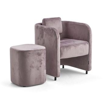 Zestaw mebli COMFY, fotel i stołek, na nóżkach, velvet, jasnofioletowy