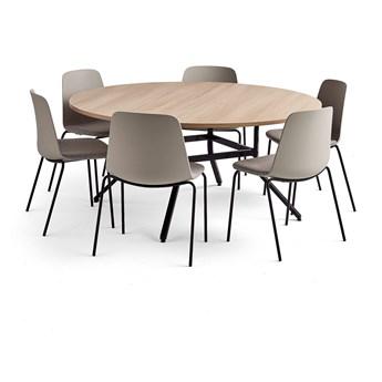 Zestaw mebli VARIOUS + LANGFORD, stół i 6 krzeseł, szary