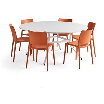 Zestaw mebli VARIOUS + RIO, 1 stół i 6 pomarańczowych krzeseł