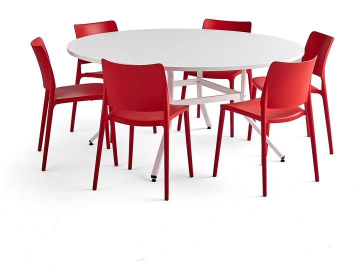 Zestaw mebli VARIOUS + RIO, 1 stół i 6 czerwonych krzeseł