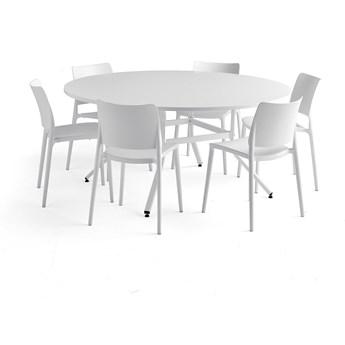 Zestaw mebli VARIOUS + RIO, 1 stół i 6 białych krzeseł